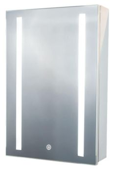 Euroshowers Polished Stainless Steel Mirror LED Cabinet 40x60x12cm