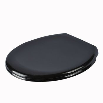 The York - Soft Close Black Standard Oval Toilet Seat - by Family Seat