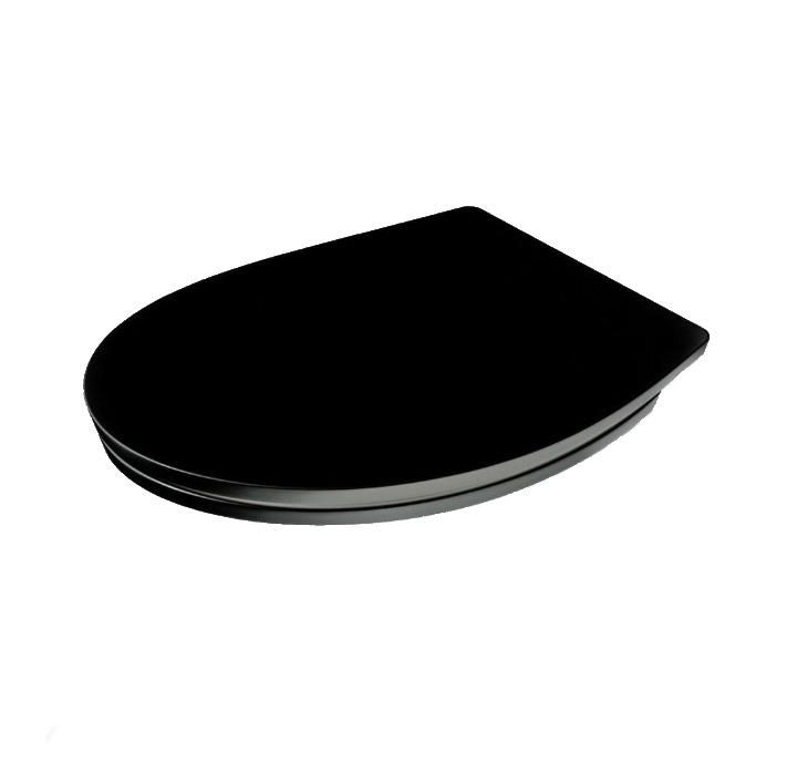 The London - Wide Black Oval Toilet Seat by Family Seat