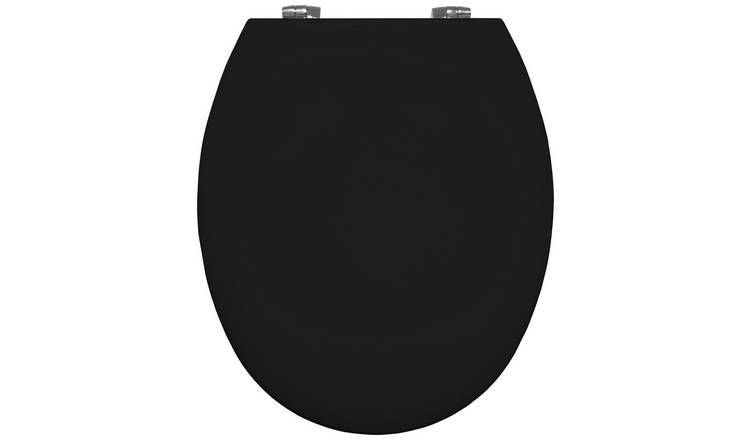 Bemis 4100 Universal Toilet Seat with Slow Close Chrome finish Hinge - Blac