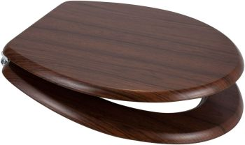 Walnut (Dark Brown) Moulded Wood Toilet Seat - OPEN BOX ITEM