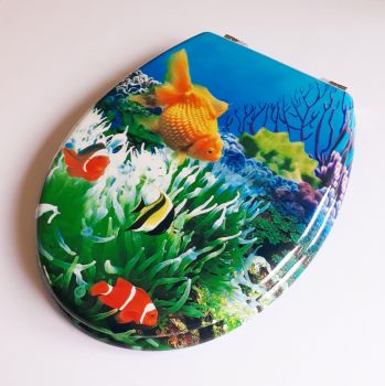 Beach Moulded Wood Gold Fish Picture Toilet Seat with Chrome finish hinge