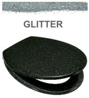 Euroshowers Black Glitter One Button Release Slow Close Toilet Seats - OPEN BOX ITEM
