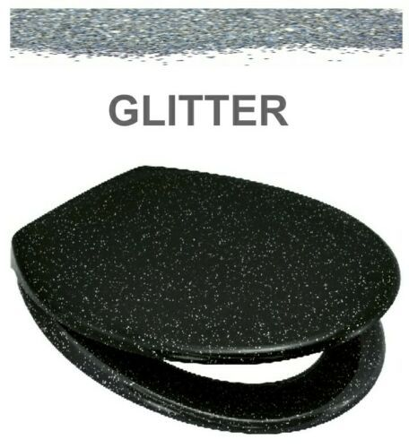 Euroshowers Black Glitter One Button Release Slow Close Toilet Seats - OPEN