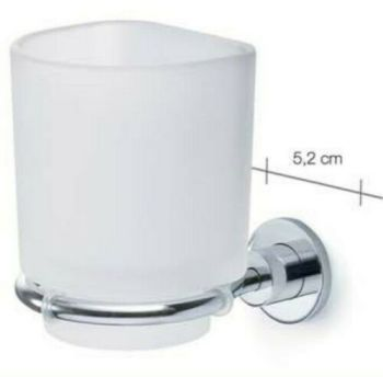 Carrara & Matta Chrome Finished Stainless Steel and Satin Glass Toothbrush Holder - HD Line