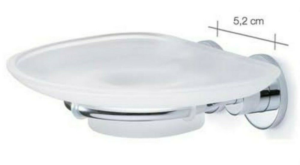 Carrara & Matta Chrome Finished Stainless Steel and Satin Glass Soap Dish -