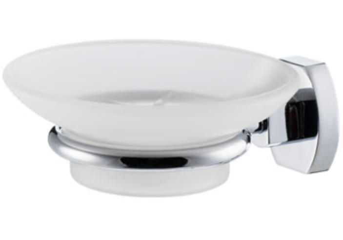 Carrara & Matta Chrome Plated Brass / Satin Glass Soap Dish