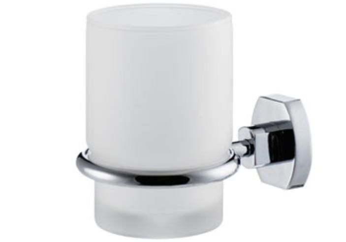 Carrara & Matta Chrome Plated Brass / Satin Glass Toothbrush Holder