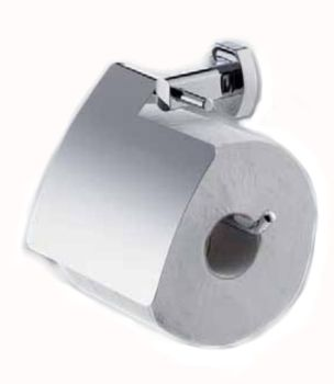 Carrara & Matta Chrome Plated Brass / Stainless Steel Toilet Paper Holder w/ Cover - Copenhagen