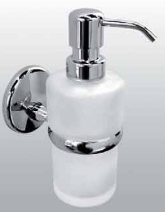 Carrara & Matta Chrome Plated Brass / Satin Glass Soap Dispenser - Bravo Su
