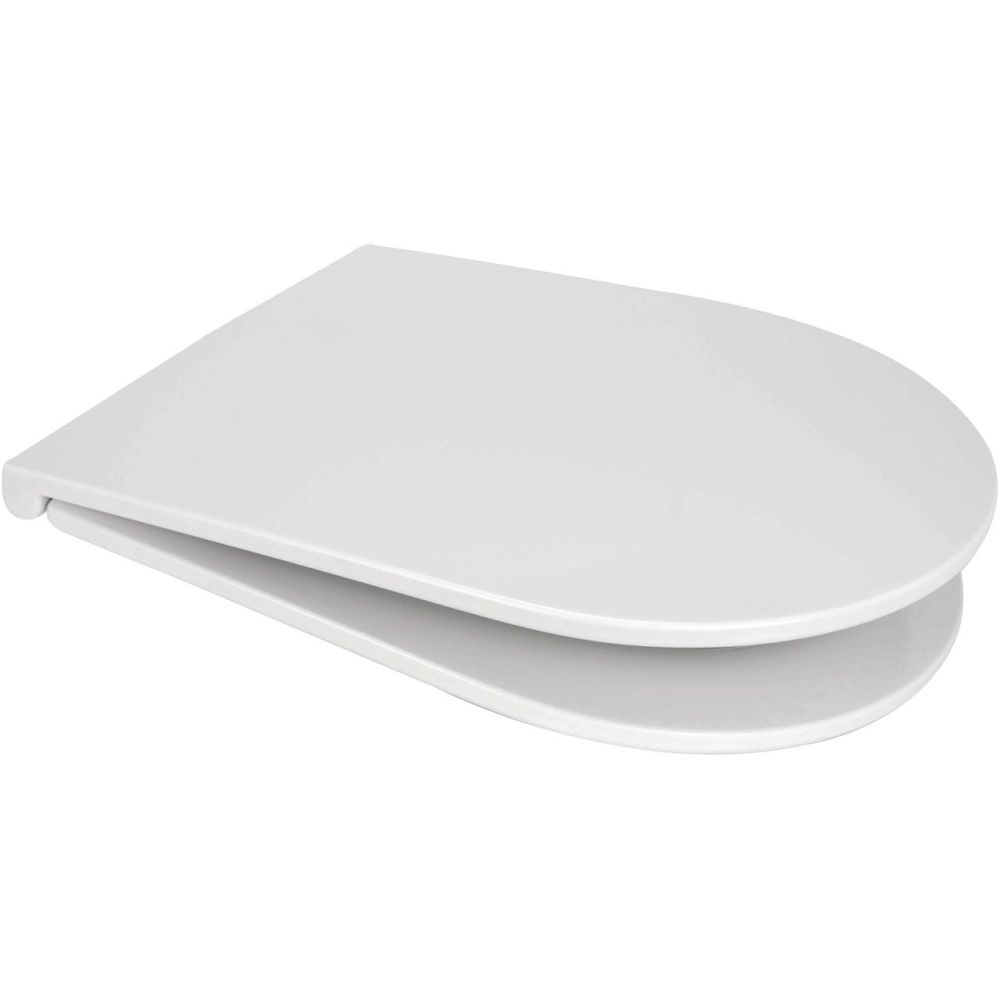 Euroshowers Long D SLIM White Toilet Seat - 87610
