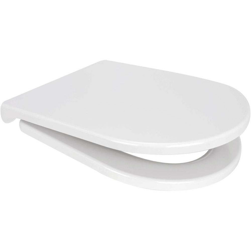 Euroshowers Varde One D shape Toilet Seat in white with slow close hinge