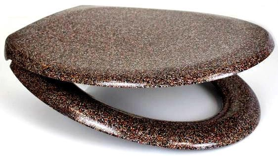RTS Brown Granite Duroplast Soft Close Toilet Seat w/ One Button Release