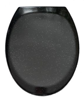 RTS Black w/ Silver Glitter Duroplast Soft Close Toilet Seat w/ One Button Release