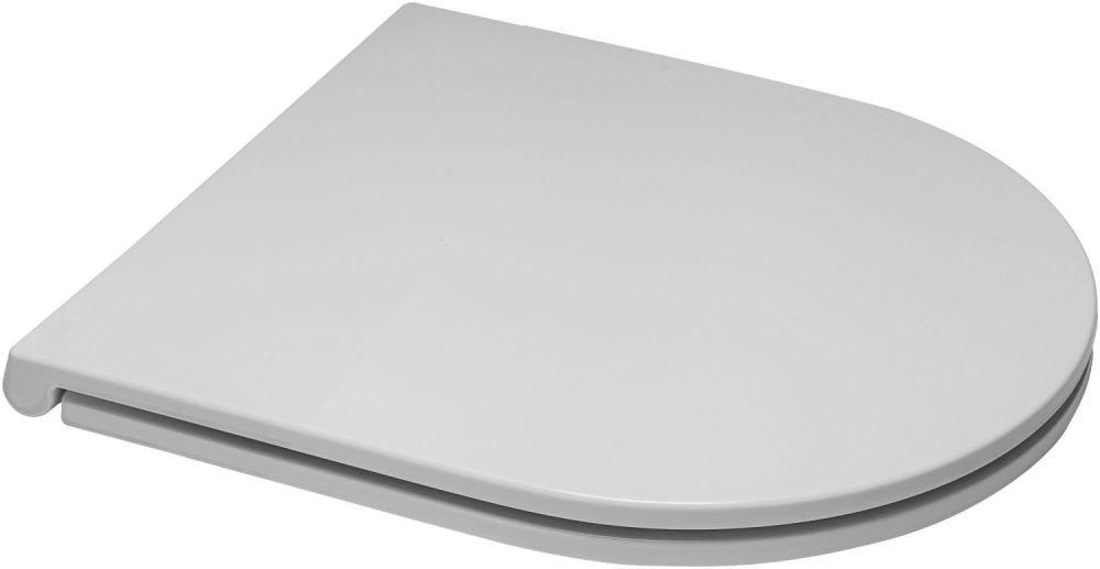 OPEN BOX ITEM - Euroshowers Short D Slim White Toilet Seat - 87510