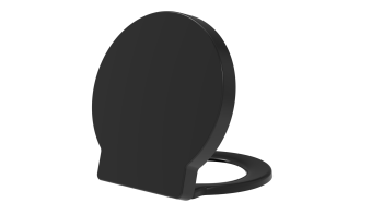 Euroshowers Round 420 Long Black Duroplast Toilet Seat with Chrome fittings