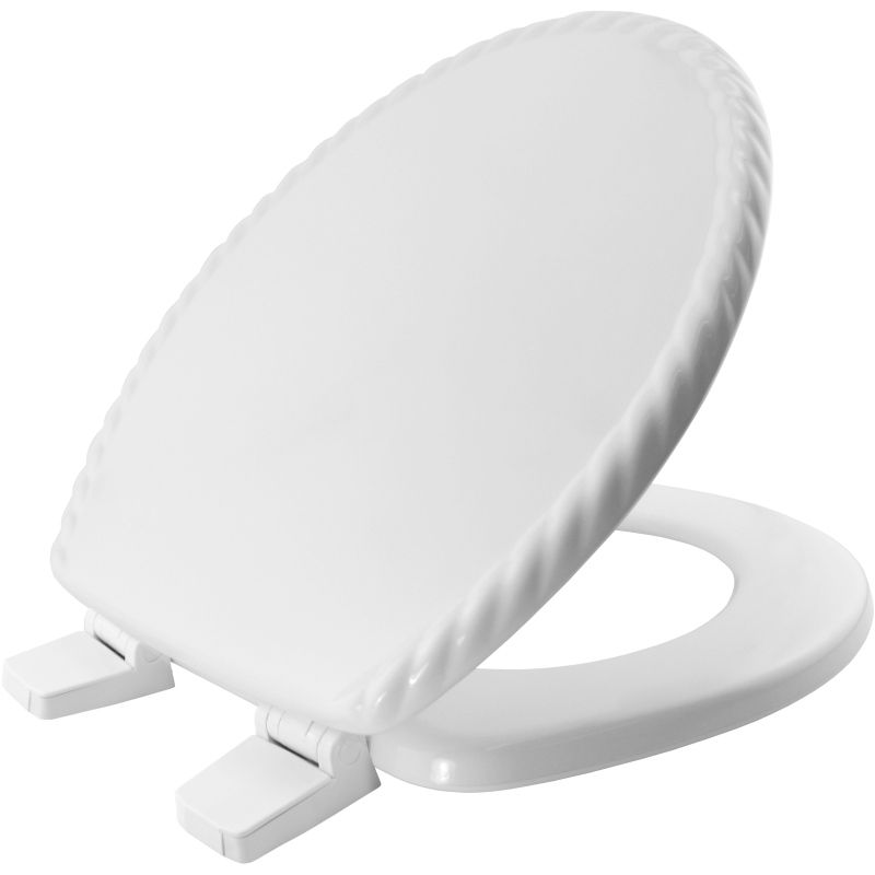 Bemis Solid White Moulded Wood Toilet Seat with Rope Detail Finish