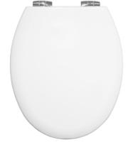Bemis 4100 White Universal Toilet Seat with  Chrome finish Hinge - Open Box
