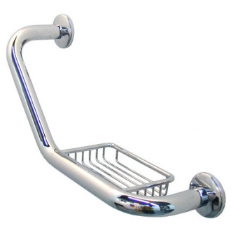 Angular Grab Bar with Soap Holder