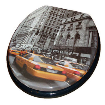 Print - New York Moulded Wood Toilet Seat by Wirquin
