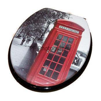 Print - London Phone Box Moulded Wood Toilet Seat.