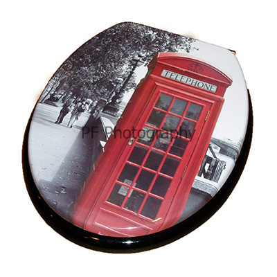 London Phone Box Print Moulded Wood Toilet Seat.