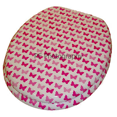Moulded Wood Toilet Seat with Pink Butterfly Pattern