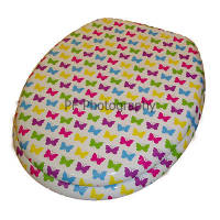Multi-coloured Butterfly Pattern Wood Toilet Seat
