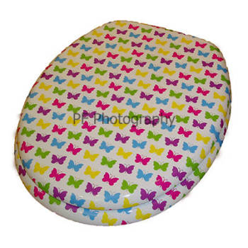 Multi-coloured Butterfly Pattern Wood Toilet Seat