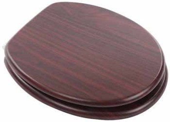Mahogany Moulded Wood Toilet Seat with chrome finish slow close hinge