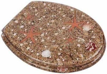 Beach Mixed Shells / Starfish Resin Toilet Seat by Euroshowers