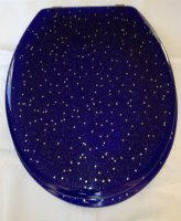 Gold Stars and blue resin toilet seats with Chrome finish hinge