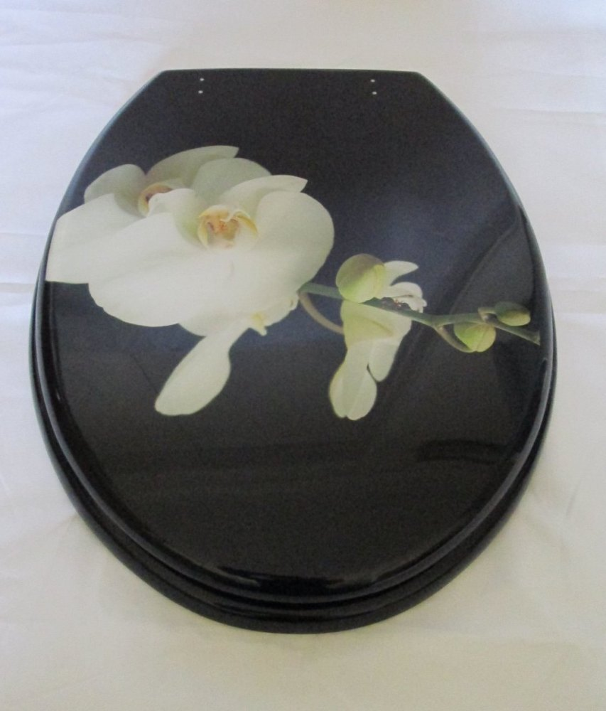 Black Resin toilet seat with white flower design and finished with Chrome f