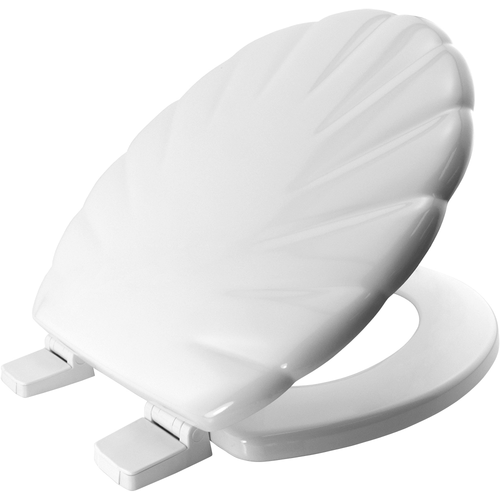Bemis Solid White Moulded Wood Toilet Seat with Shell Pattern Finish