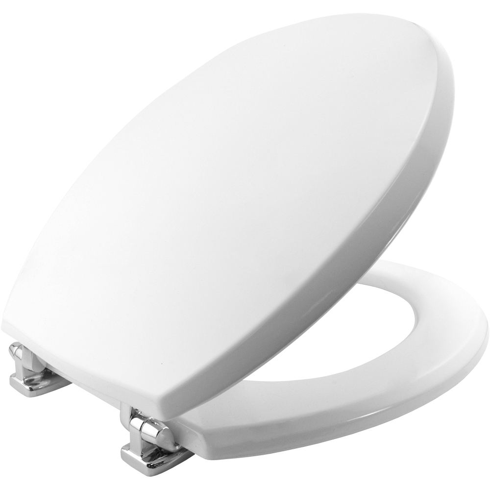 Bemis Moulded wood White Toilet Seat with multi point Chrome Hinge