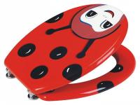 Red Ladybird pattern MDF Toilet Seat with Chrome finish Hinges