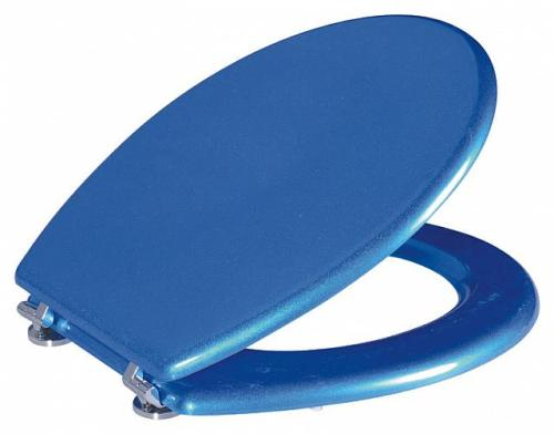 Blue finish MDF Toilet Seat with Chrome finish Hinges