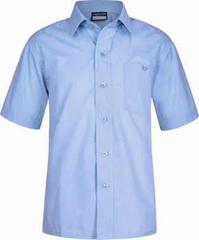 Boys Shirt - Short Sleeves, Twin Pack - White or Blue
