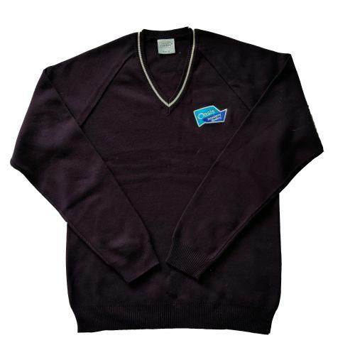 Oasis Academy Sholing Uniform, V Neck Jumper with Badge