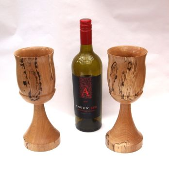 Pair of Spalted beech Goblets