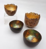 gold and metal leafed bowls