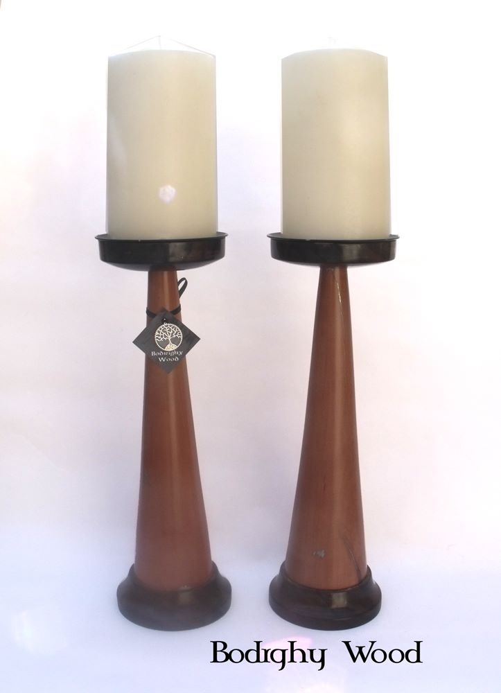 Yew and macassar ebony candlesticks