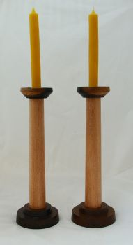 brown oak beech candlesticks (4)