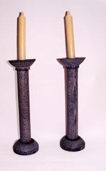 12 inch ebonised oak candlesticks 1 (2)