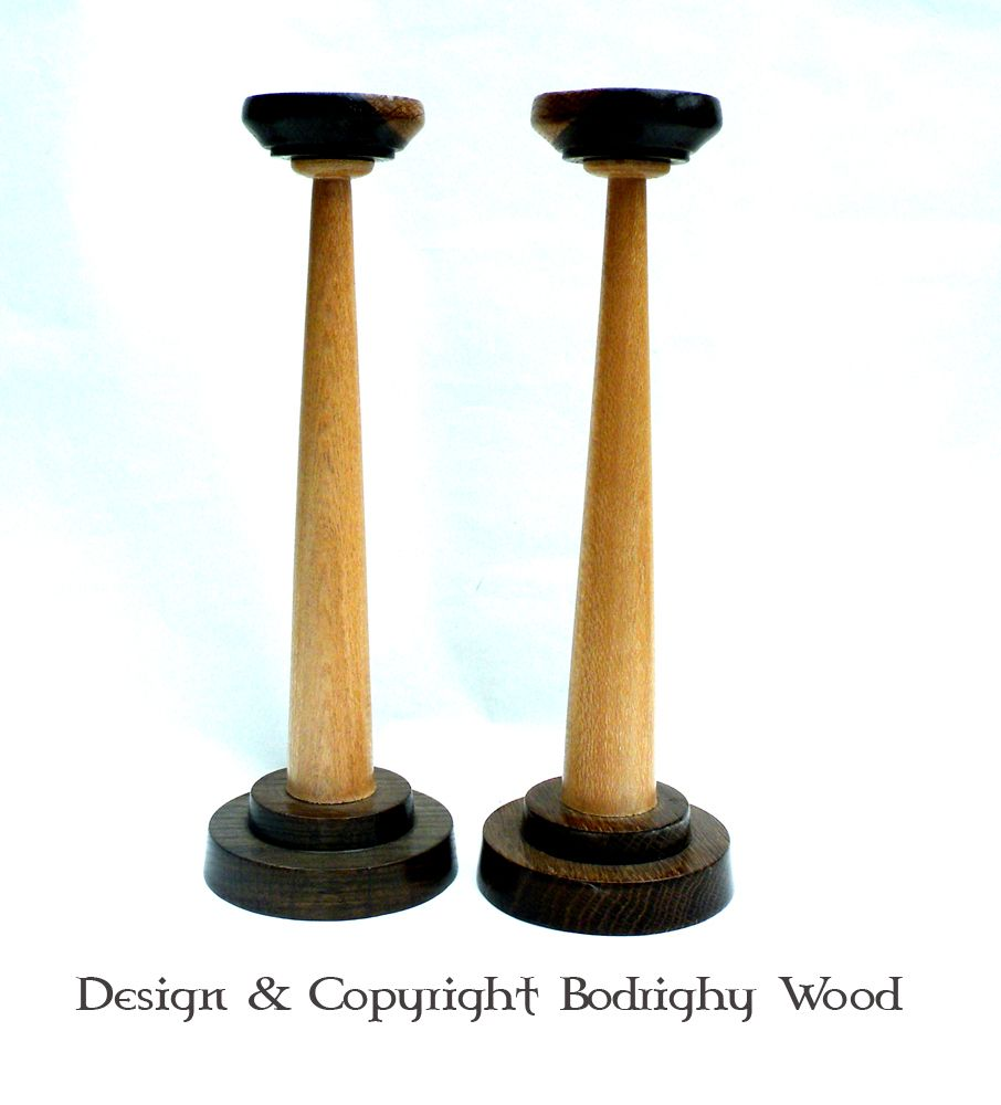 Lacewood and oak candlesticks