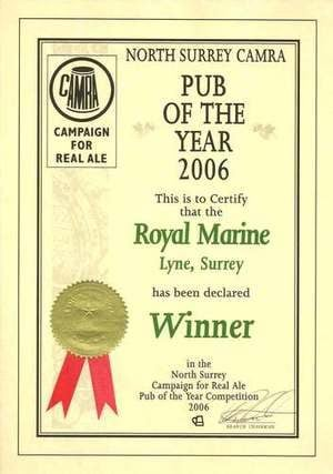 Pub Of The Year Certificate