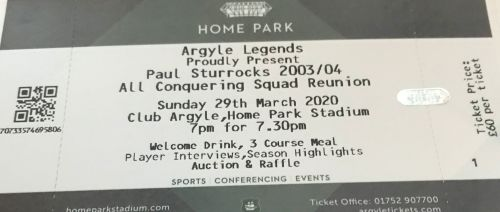 Single Ticket For Paul Sturrock's 2003/04 All Conquering Squad Reunion