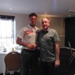 Andy presents Rob Pratt with his longest drive prize.