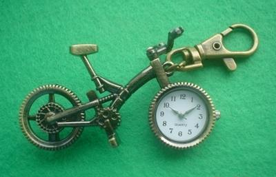 Bicycle Quartz Watch Key Ring (bronze colour)