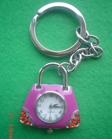 Plum Lock Design Key Ring Watch
